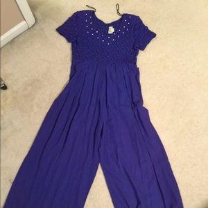 Vintage 90's purple pearl jumpsuit romper wideleg